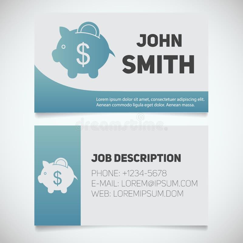 Plantilla de la impresión de la tarjeta de visita con el logotipo de la hucha ilustración del vector