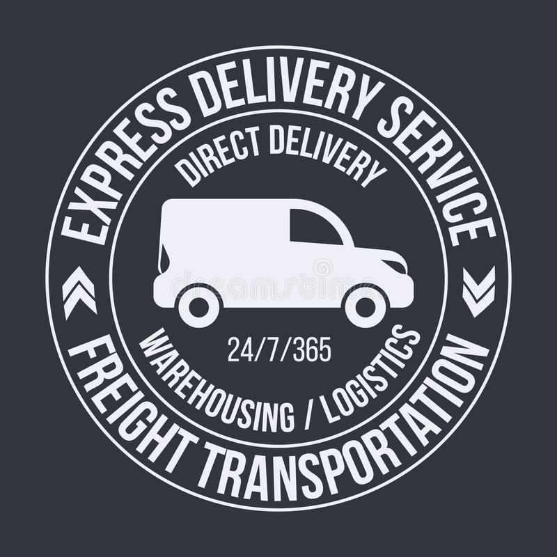 Plantilla de la insignia de la furgoneta de entrega rápida Etiqueta del transporte de la carga, emblema libre illustration
