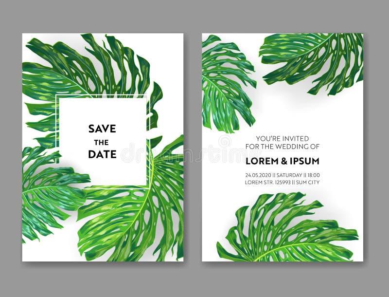 Plantilla de la invitación de la boda con las hojas de palma de Monstera Reserva tropical la tarjeta de fecha Diseño botánico del libre illustration