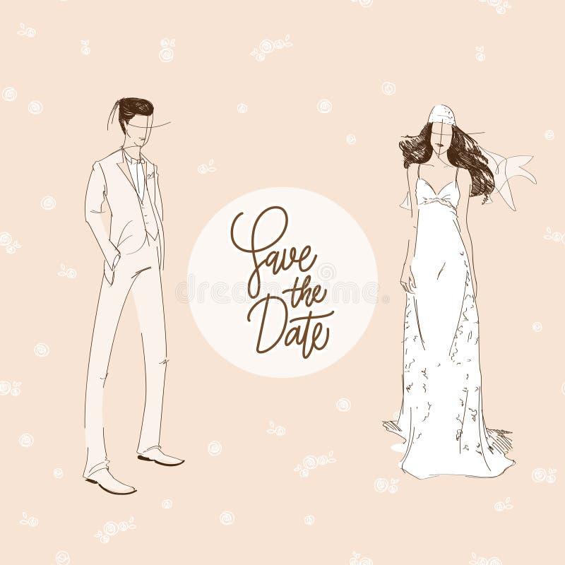 Plantilla de la invitación de boda en el papel pintado inconsútil de las flores beige rosadas stock de ilustración