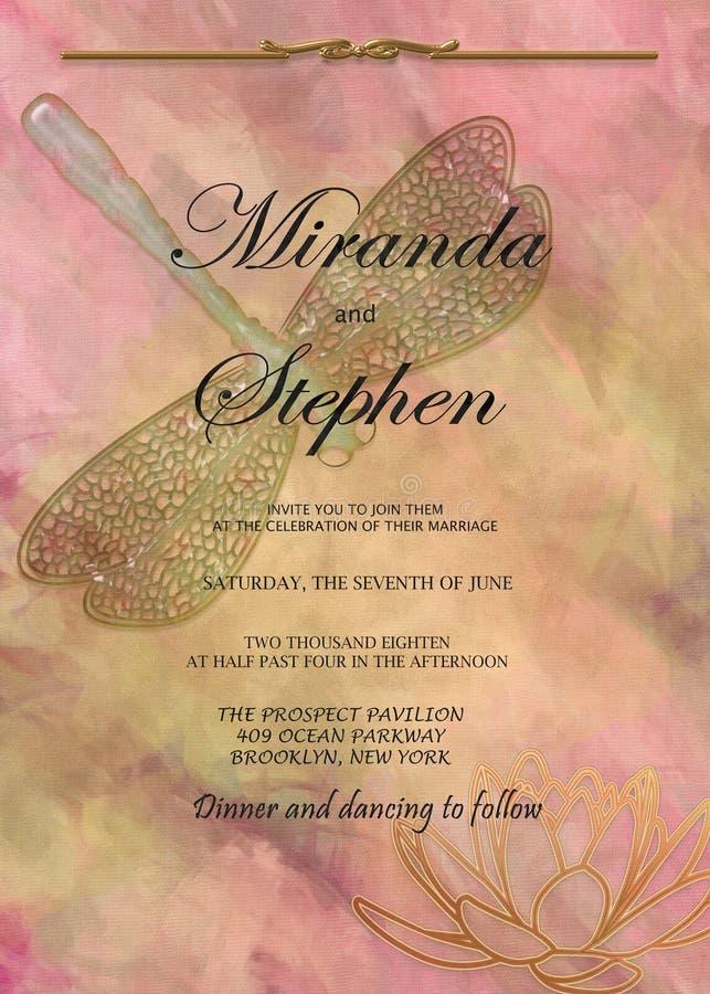 Plantilla de la invitación de la boda: Libélula de mármol y Lotus del melocotón libre illustration