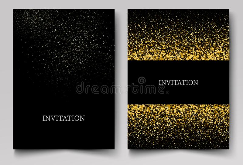 Plantilla de la invitación con el fondo del confeti del brillo del oro Diseño festivo de las tarjetas de felicitación para el eve stock de ilustración