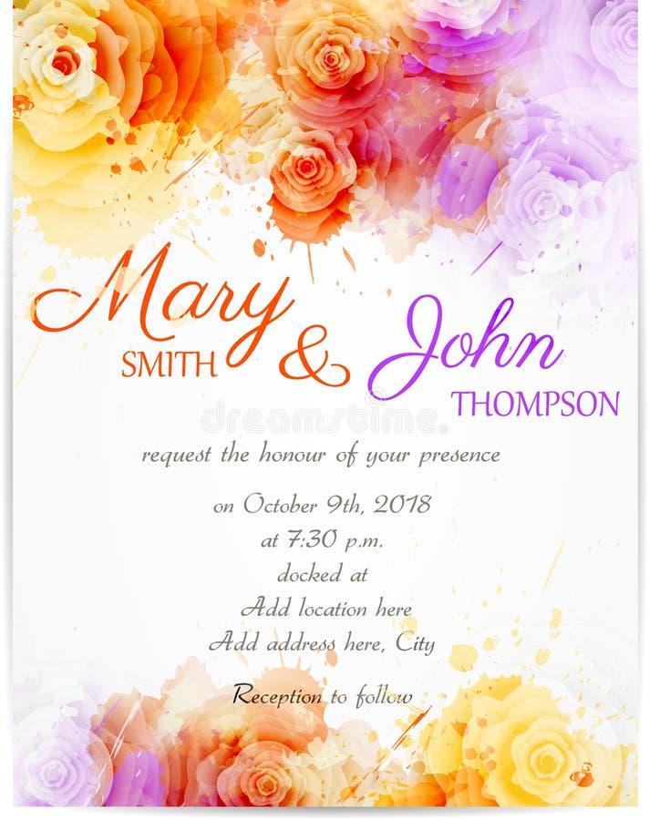 Plantilla de la invitación de la boda con las rosas abstractas ilustración del vector