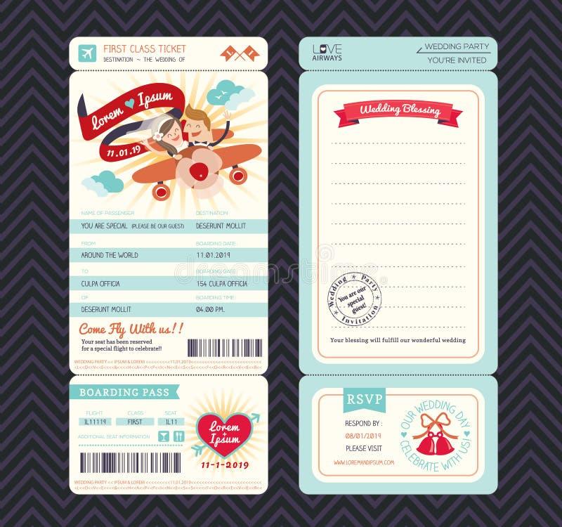 Plantilla de la invitación de la boda del boleto del documento de embarque de la historieta stock de ilustración
