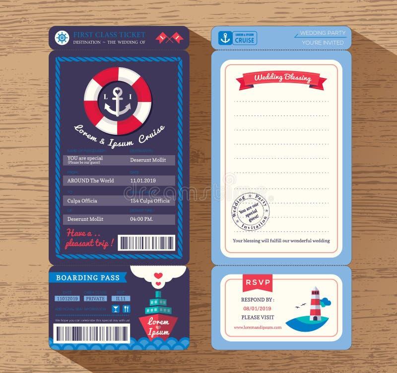 Plantilla de la invitación de la boda del boleto del documento de embarque del barco de cruceros stock de ilustración