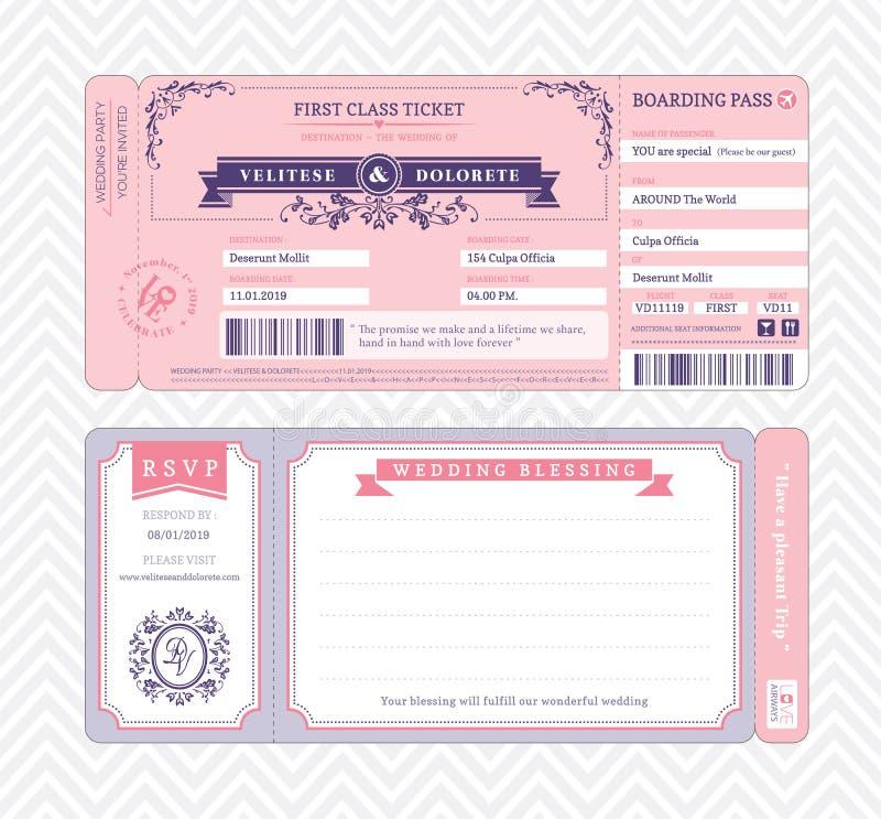 Plantilla de la invitación de la boda del documento de embarque libre illustration