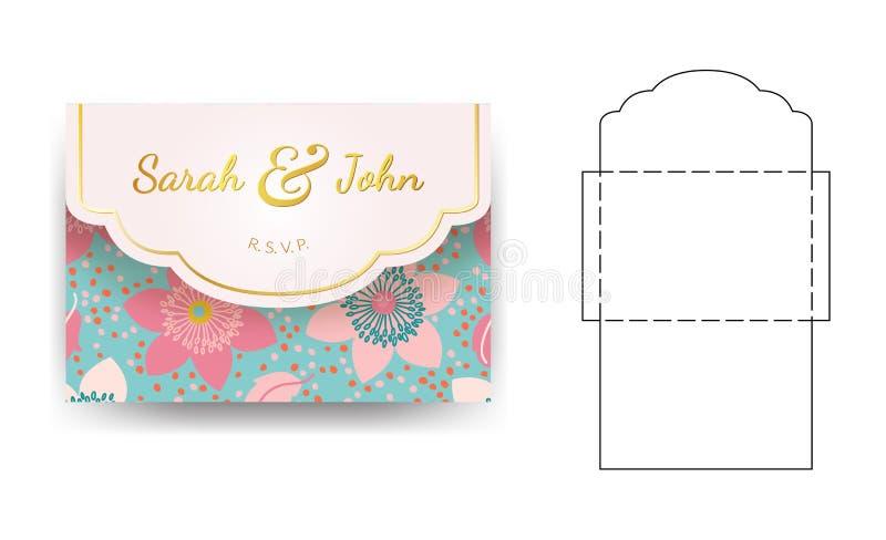 Plantilla de la invitación de la boda del sobre con el estampado de plores stock de ilustración