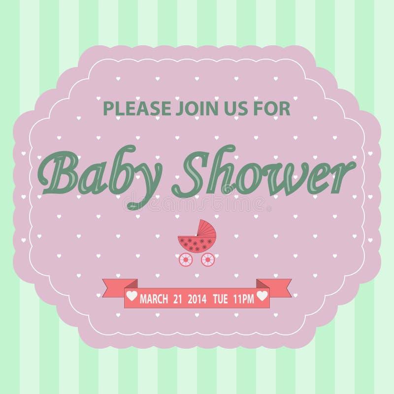 Plantilla de la invitación de la fiesta de bienvenida al bebé stock de ilustración