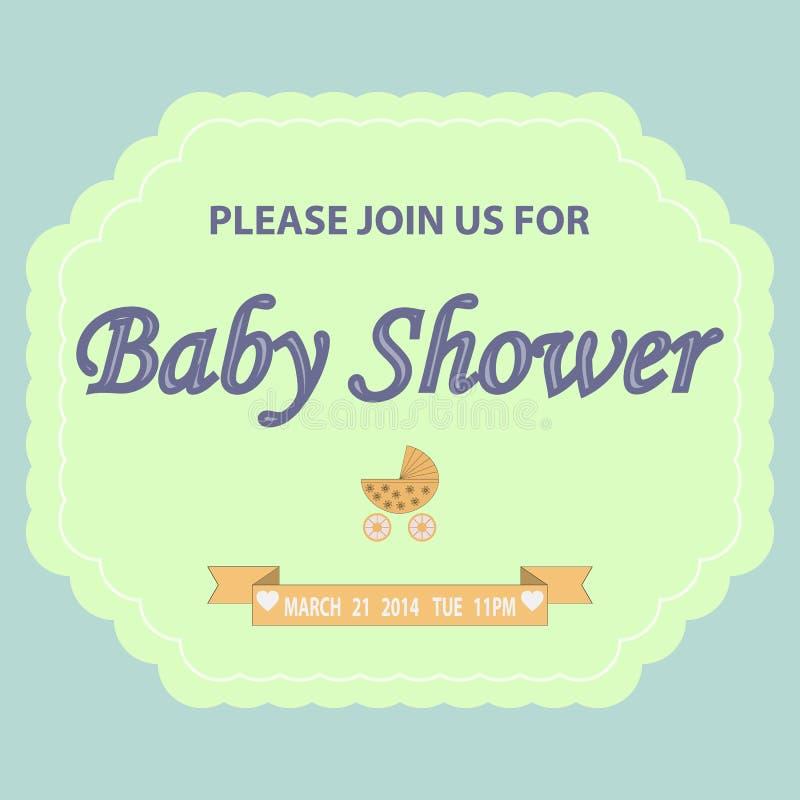 Plantilla de la invitación de la fiesta de bienvenida al bebé ilustración del vector
