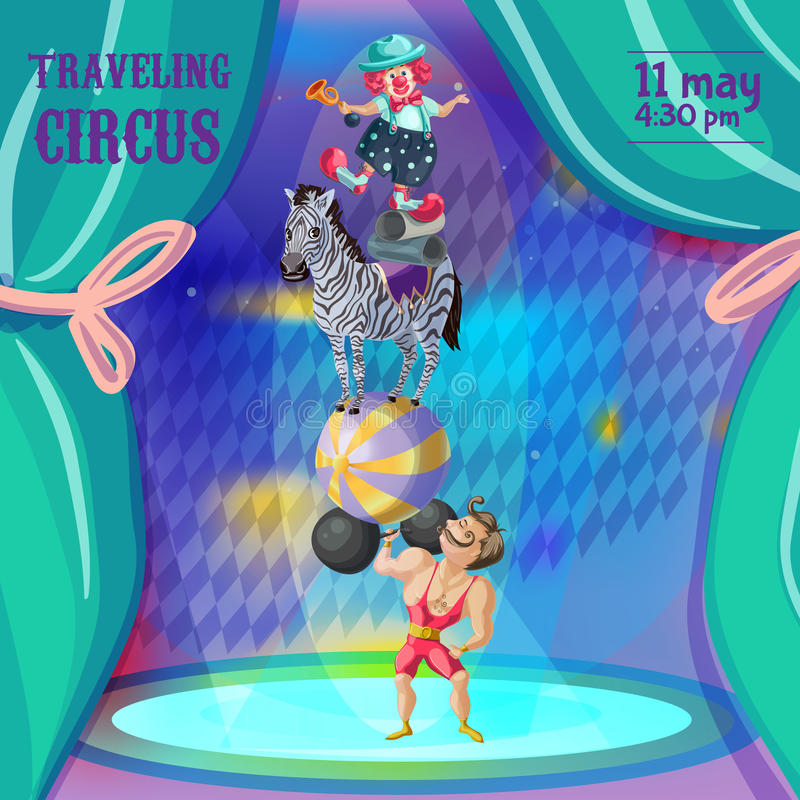 Plantilla de la invitación del circo de la historieta que viaja ilustración del vector