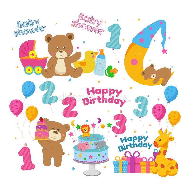 Plantilla de la invitación del tema de la fiesta de bienvenida al bebé del oso de peluche ilustración del vector