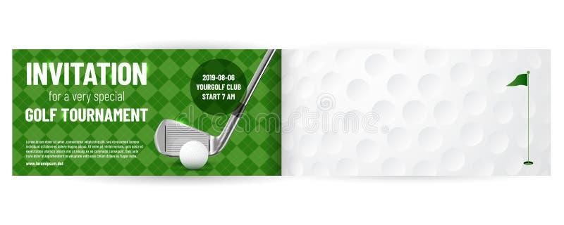 Plantilla de la invitación del torneo del golf ilustración del vector