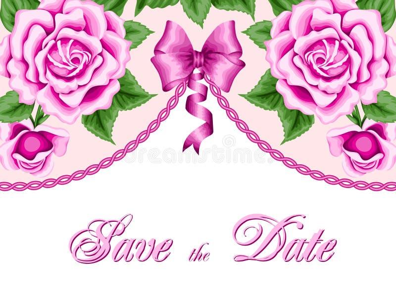 Plantilla de la invitación del vintage con las rosas stock de ilustración