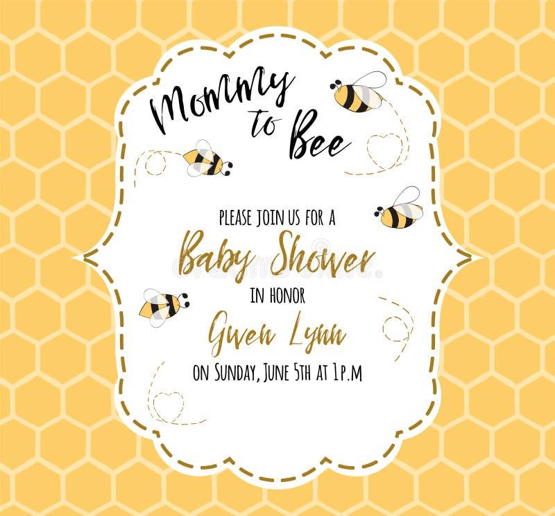 Plantilla de la invitación de la fiesta de bienvenida al bebé con la mamá del texto a la abeja, miel Diseño de tarjeta lindo para stock de ilustración