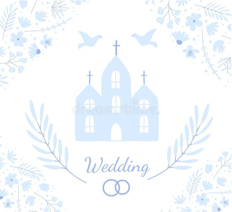 Plantilla de la invitaci?n de la boda Tarjeta de felicitación del estilo del garabato para el matrimonio ilustración del vector