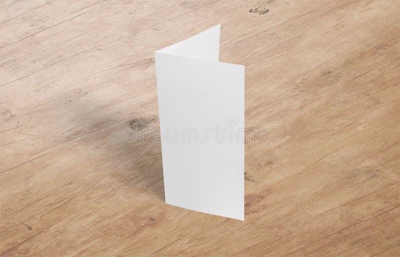 plantilla de la maqueta del aviador de la Dos-hoja Documento blanco de la plantilla del folleto en blanco sobre fondo foto de archivo