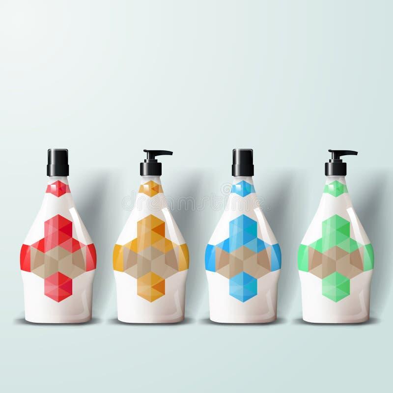 Plantilla de la maqueta para los diseños del marcado en caliente y de producto Botellas plásticas realistas aisladas con el espra libre illustration