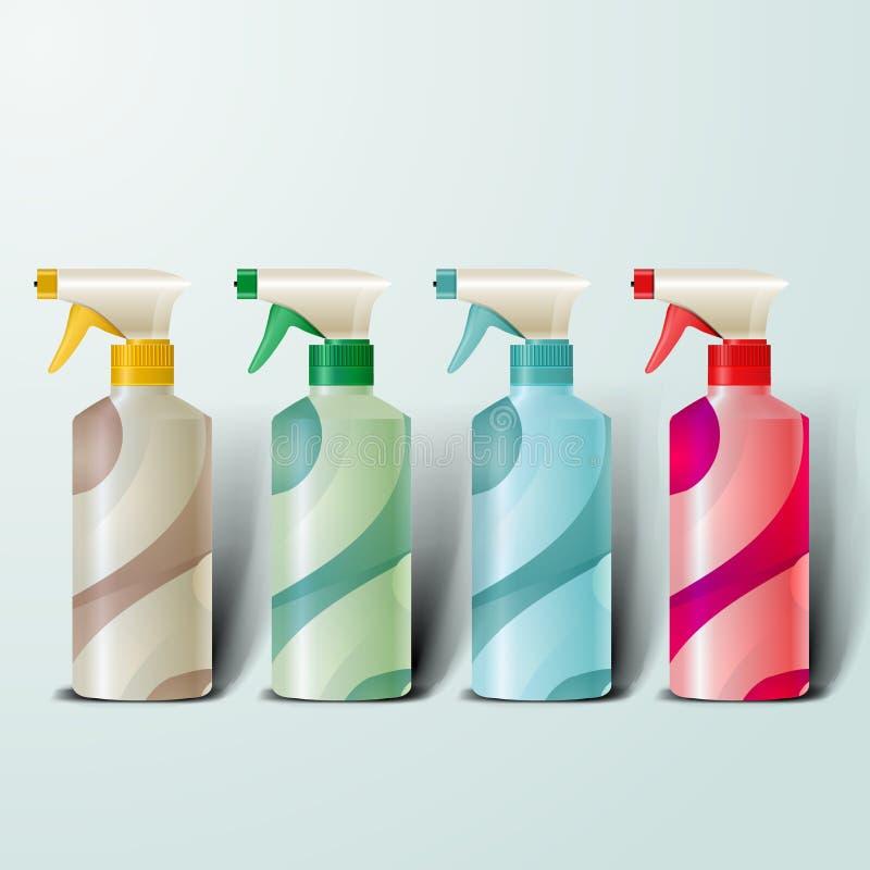Plantilla de la maqueta para los diseños del marcado en caliente y de producto botellas plásticas realistas con el espray del dis stock de ilustración