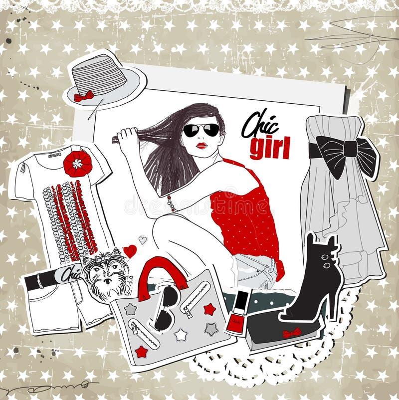 Plantilla de la moda del vintage del pedazo con ropa de moda ilustración del vector