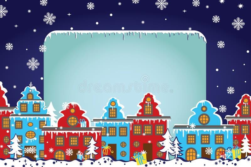 Plantilla de la Navidad Santa Claus que viene a la ciudad libre illustration