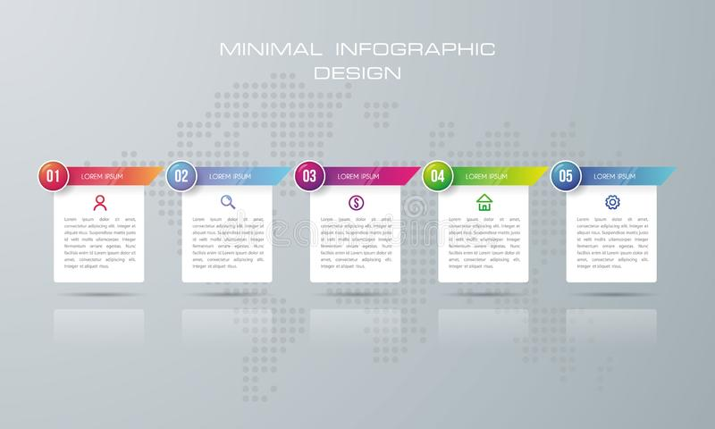 Plantilla de la opción de Infographic, plantilla de Infographic con 5 opciones stock de ilustración