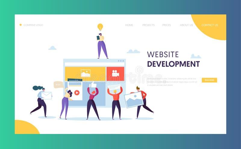 Plantilla de la página del aterrizaje del desarrollo web Gente plana stock de ilustración