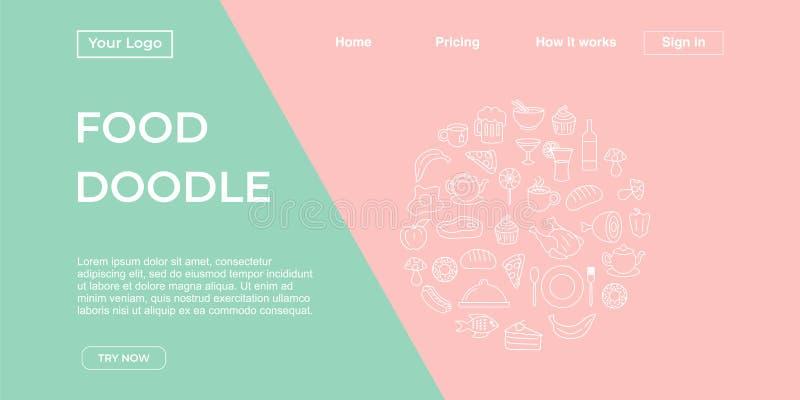 Plantilla de la página del aterrizaje del fondo del garabato de la comida con colores en colores pastel dinámicos del estallido,  ilustración del vector