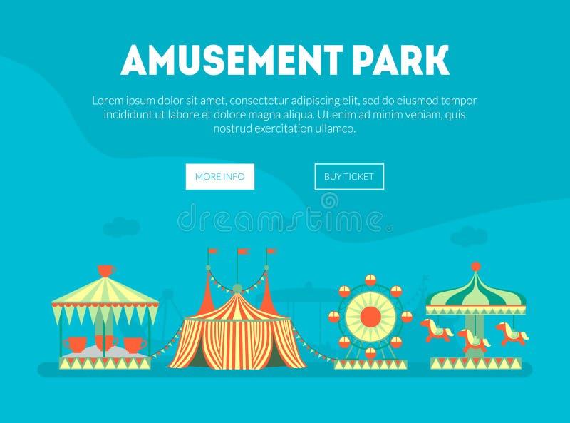 Plantilla de la página del aterrizaje del parque de atracciones, bandera del Funfair del carnaval con los carruseles, Ferris Whee libre illustration