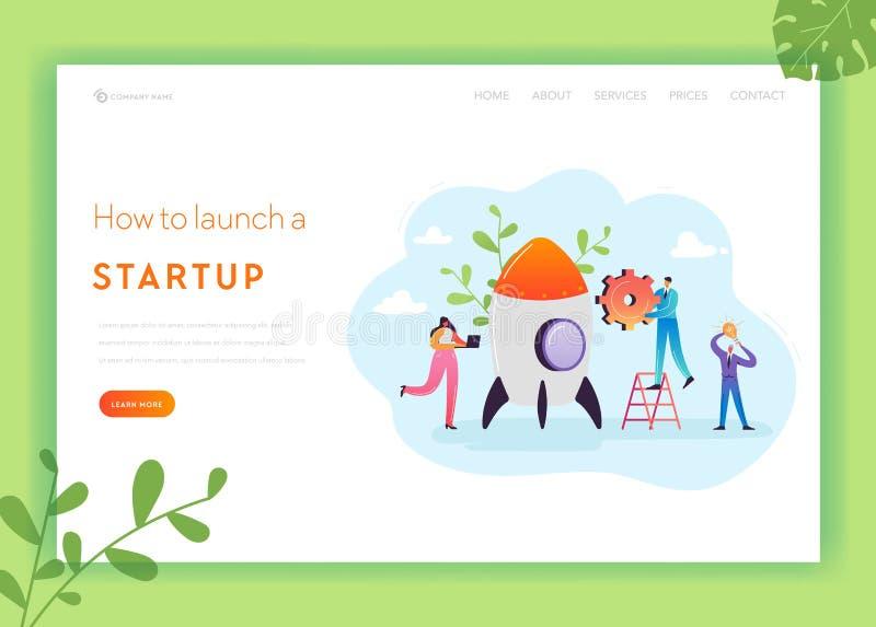 Plantilla de la página del aterrizaje de la puesta en marcha del negocio La inversión, el alza de la carrera y la bandera de la e ilustración del vector