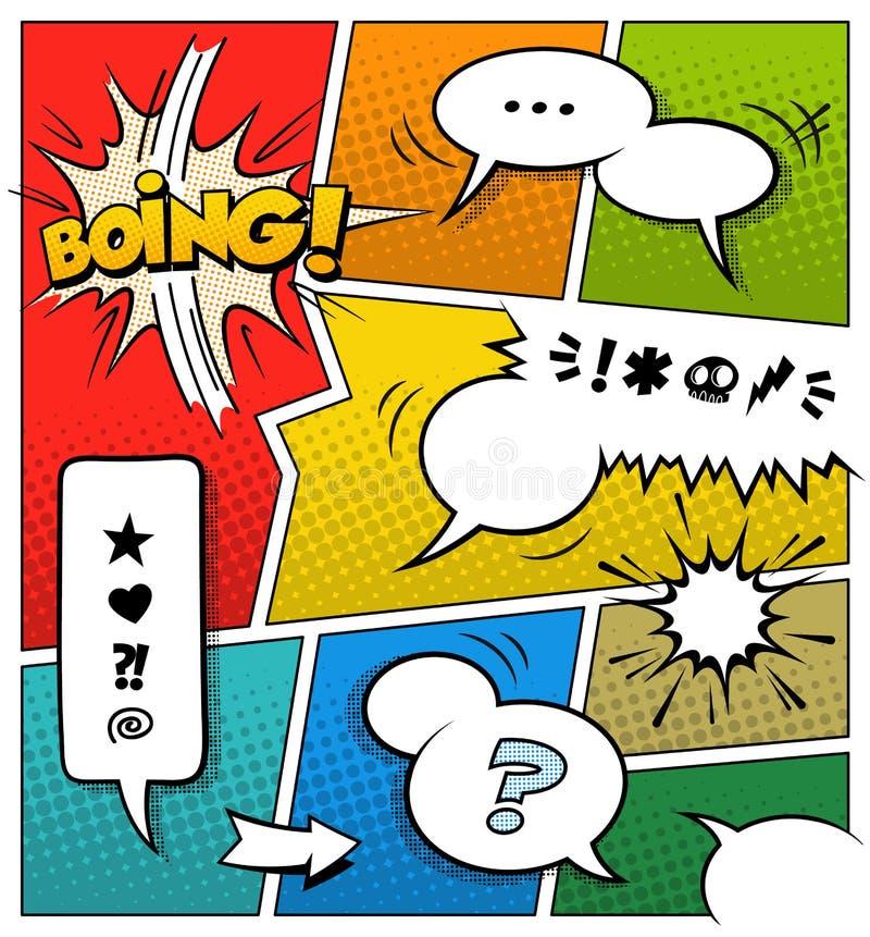 Plantilla de la página del cómic del color ilustración del vector