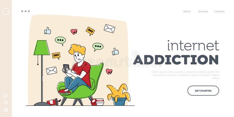 Plantilla de la página de inicio de Gadget Addiction, Cellphone Communication Landing Personaje femenino mirando en pantalla libre illustration