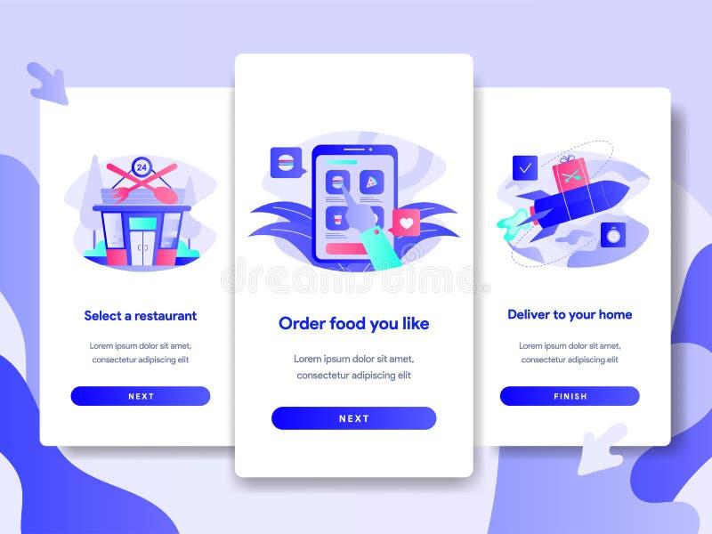 Plantilla de la página de la pantalla de Onboarding del concepto en línea de la entrega de la comida Concepto de diseño plano mod stock de ilustración