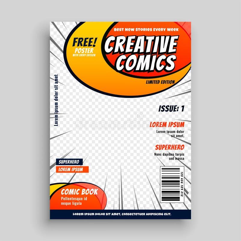 Plantilla de la página de portada de revista del cómic stock de ilustración