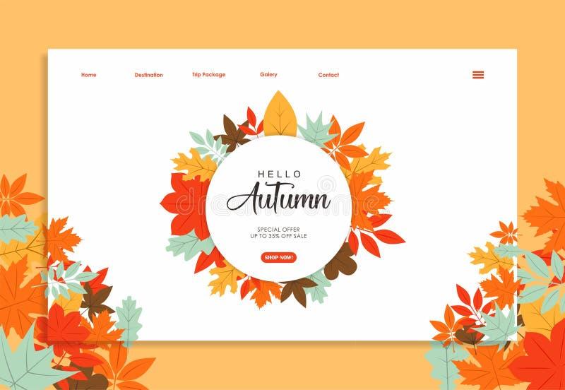 Plantilla de la página web con diseño del color del otoño ilustración del vector