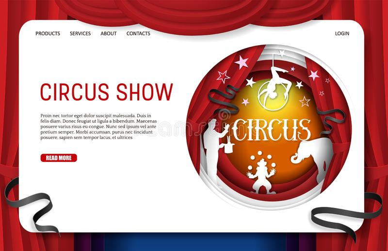 Plantilla de la página web de la página del aterrizaje de la demostración del circo del corte del papel del vector ilustración del vector
