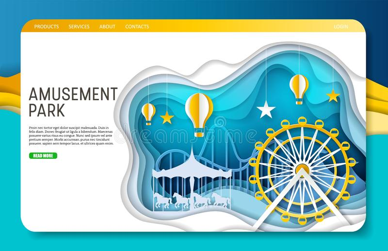 Plantilla de la página web de la página del aterrizaje del parque de atracciones del corte del papel del vector libre illustration