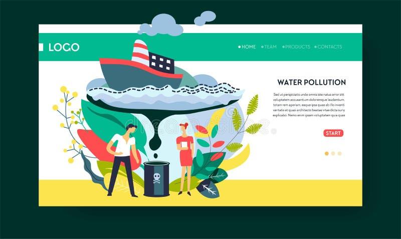 Plantilla de la página web del carguero de la nave de la mancha del aceite y del combustible de la contaminación de agua libre illustration