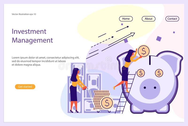 Plantilla de la página web de la gestión de inversiones ilustración del vector