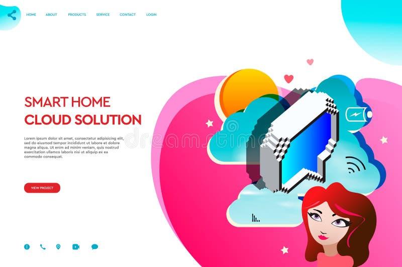 Plantilla de la página web de los apps del negocio Solución casera elegante de la nube Concepto moderno del ejemplo del vector pa ilustración del vector