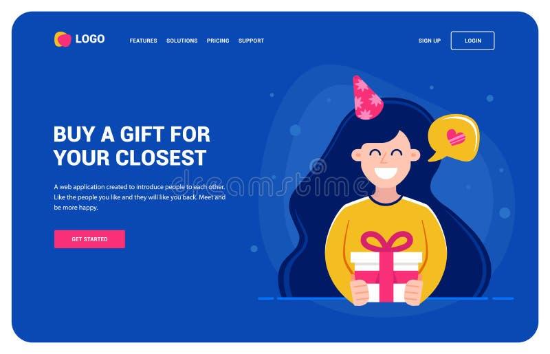Plantilla de la página web para los que quieren un regalo Muchacha que celebra un regalo y una sonrisa fiesta de cumpleaños, cará ilustración del vector
