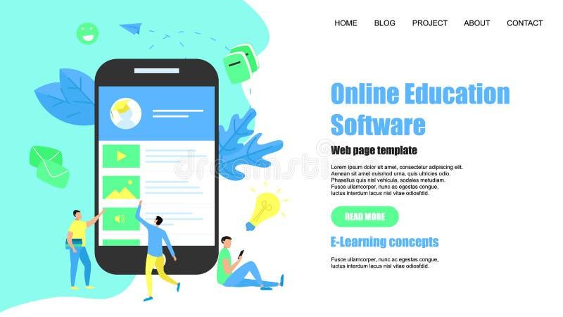 Plantilla de la p?gina web App en línea de la educación Concepto del aprendizaje electr?nico libre illustration