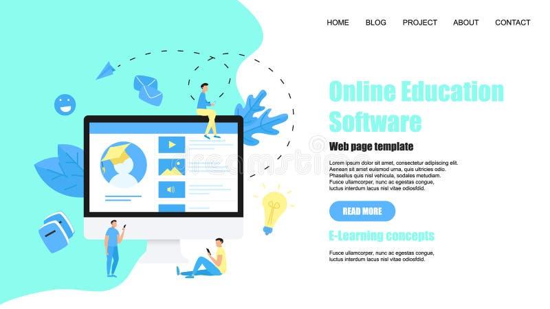 Plantilla de la p?gina web App en línea de la educación Concepto del aprendizaje electr?nico ilustración del vector