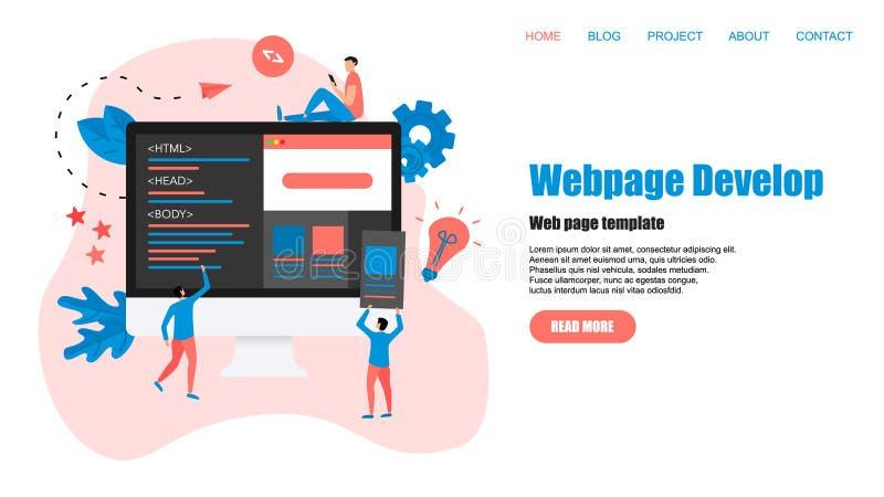 Plantilla de la p?gina web Desarrollo de la p?gina web y concepto creativos del dise?o web ilustración del vector