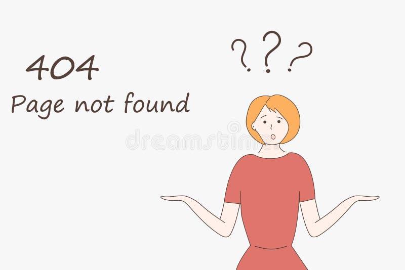 Plantilla de la p?gina web para la p?gina de internet: la p?gina 404 no encontr? Una muchacha en encogimientos de hombros rojos d stock de ilustración