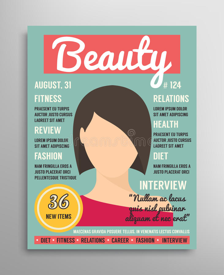 Plantilla de la portada de revista sobre belleza, la moda y la salud para las mujeres Ilustración del vector stock de ilustración