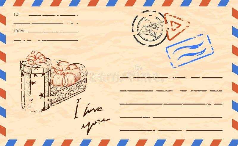 Plantilla de la postal del vintage, con el espacio de la copia para el texto ilustración del vector