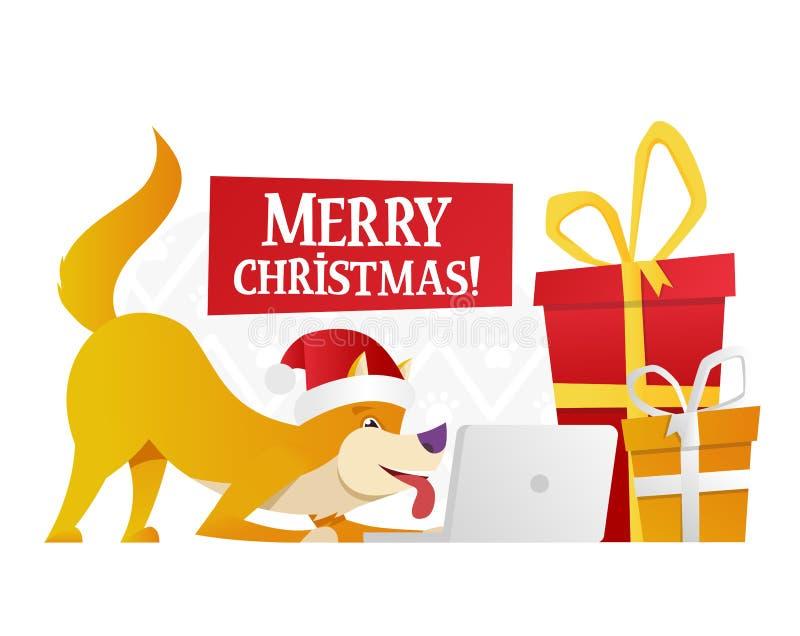 Plantilla de la postal de la Feliz Navidad con el perro amarillo lindo con los regalos rojos y amarillos grandes en el fondo blan libre illustration