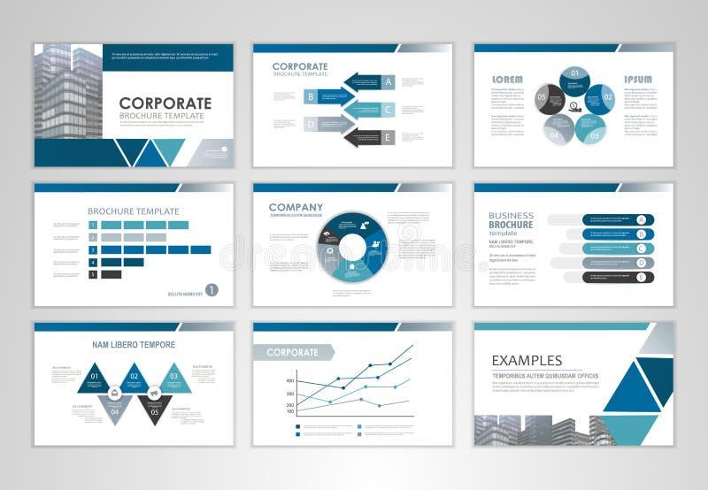 Plantilla de la presentación con los gráficos y las cartas stock de ilustración