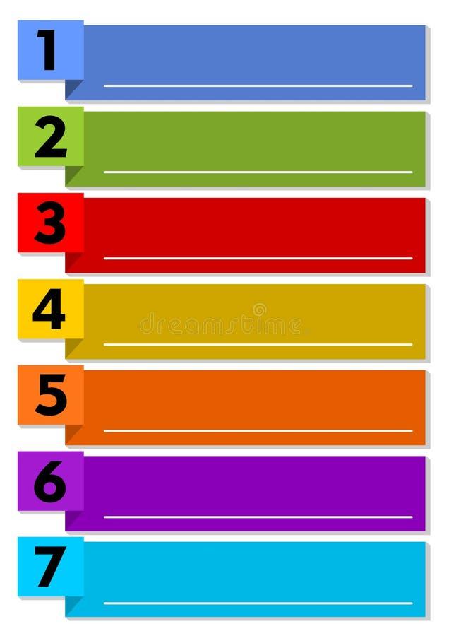 Plantilla de la presentación de Infographic del proceso de trabajo en siete pasos con los elementos multicolores y marcos de text libre illustration