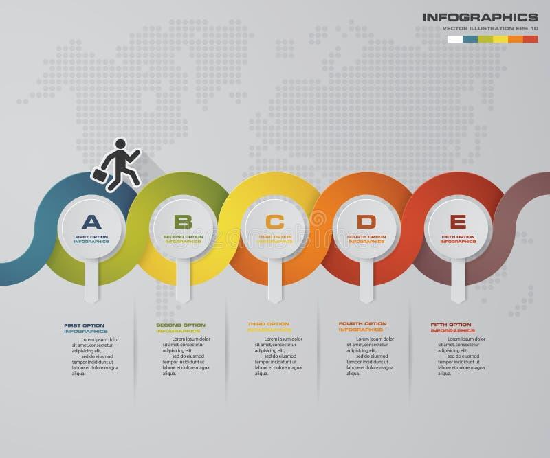 plantilla de la presentación de 5 pasos plantilla de la presentación de la cronología de 5 pasos ilustración del vector